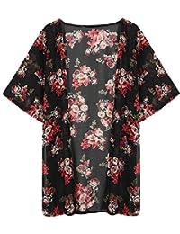 Minetom Femmes Été Floral Imprimé Mousseline Kimono Veste Cardigan Outwear Blouse