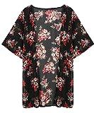 Minetom Femmes Été Floral Imprimé Mousseline Kimono Veste Cardigan Outwear Blouse FR 40