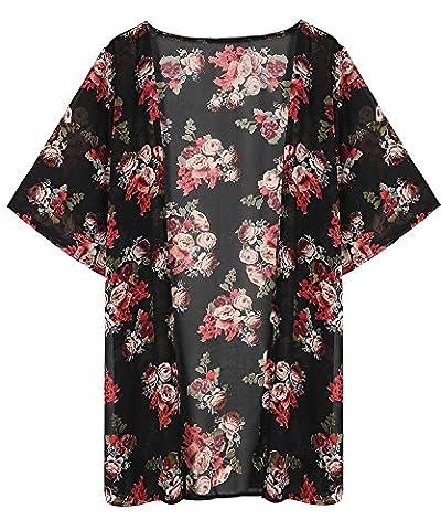 Veste Kimono Femme - Minetom Femmes Été Floral Imprimé Mousseline Kimono