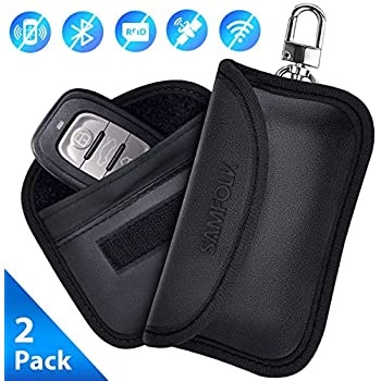 Signal Jammer with Belt Loop Black 14 x 10.2cm Polyester Security - NFC//RFID Contactless Cards Protector Faraday Bag Anti-Theft iGadgitz U6851 2//pc Car Key Signal Blocker Pouch