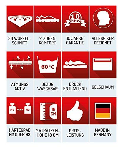 Matratzenheld 3D-Gelschaummatratze Herkules 100x200, medium - H2 bis 80 kg, ergonomische 7 Zonen Kaltschaummatratze Gelschaum RG50/ Kaltschaum RG40, Bezug waschbar 60° C, Allergiker geeignet, Made in Germany, H2 und H3 erhältlich - 5