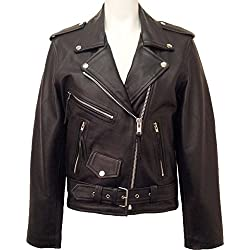 UNICORN Mujeres Genuino real cuero chaqueta Estilo clásico Biker Brando Negro #B3 Tamaño 42