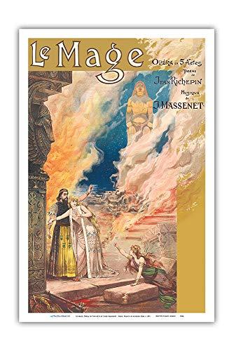18 Kostüm Jahrhundert Theater - Pacifica Island Art Kunstdruck Le Mage Opera von Jules Massenet Paris France Theater Alfredo Edel 1891 12 x 18 in Mehrfarbig