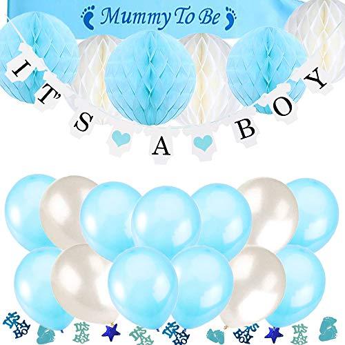 TopDeko Babyparty Deko Jungen, Baby Junge Deko Baby Shower Boy Deko mit It's A Boy Girlande, 6pcs Wabenbälle, Mummy to Be Schärpe, Konfetti Babyparty, 15pcs Luftballons für Baby Shower (Beliebteste Produkte)
