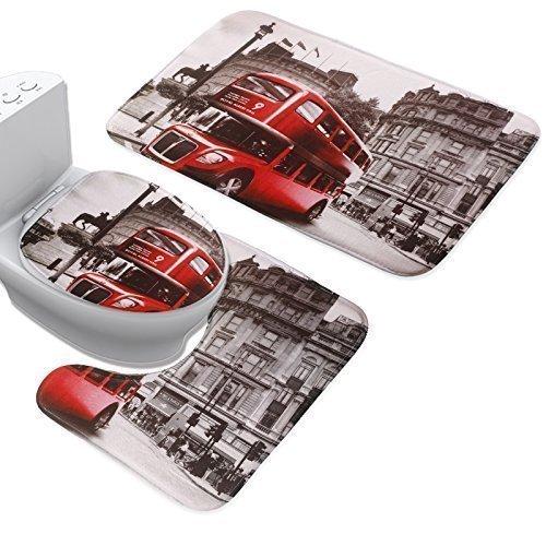 Set 3Pezzi autobus rosso flanella antiscivolo tappetino WC Cover Set (+ Tappetino da bagno + coperchio WC)