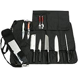 HANSHI Unitaire Heavy Duty 17 Emplacement, Sac en Rouleau à Couteaux de Chef, Sac De Rangement Portable pour Couteaux de Cuisine, Fourre-Tout avec Bandoulière HGJ60