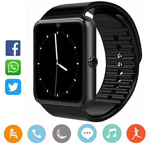 Smartwatch Damen Herren-CatShin CS03 Sport Uhr Fitnessuhr Fitness Tracker Intelligente Armbanduhr Smart Watch mit Kamera Schrittzähler Schlaftracker Kompatibel mit Android/IOS(SCHWARZ)