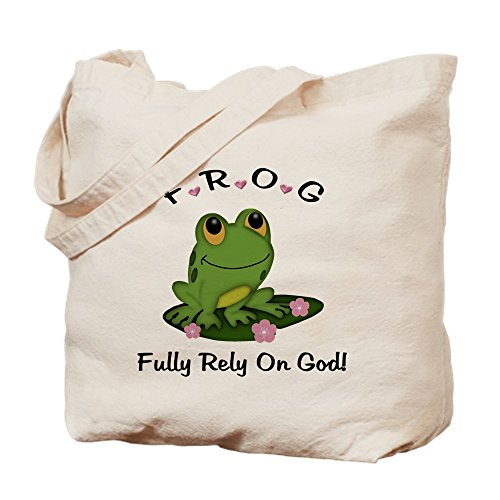 CafePress Frosch Fully Rely On God Tragetasche, canvas, khaki, S