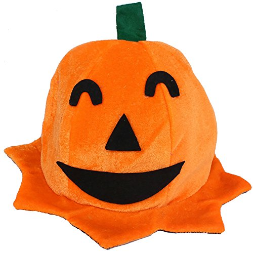 LANDFOX Halloween Kürbis Hut Cos Halloween Kürbis Hut Kürbis Motive Lint Top Orange Hüte Orange 18cm Hexenhut für Damen Horror Party Hexe Hut Smiley, Gebogene Kürbiskappe