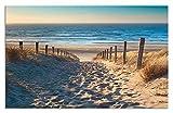 Artland Design Spritzschutz Küche I Alu Küchenrückwand Herd Landschaften Strand Meer Fotografie Creme H8FE Weg zum Nordseestrand in goldenem Sonnenuntergang Sonnenschein, Nordholland, Niederlande