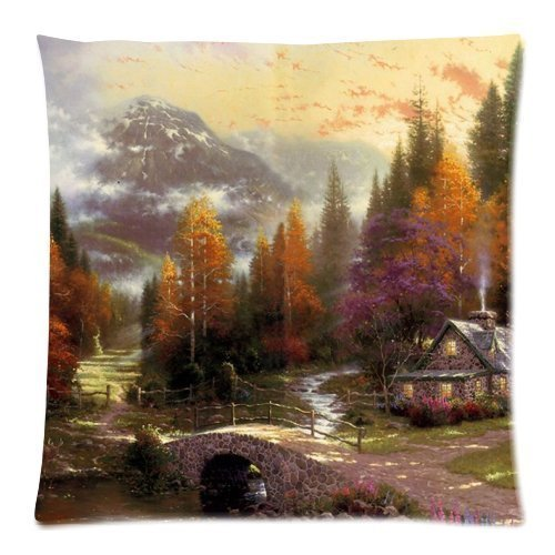 Clothing decoration Thomas Kinkade The Valley of Peace Pillowcases Custom Pillow Case Cushion Cover 18 X 18 Inch Two Sides