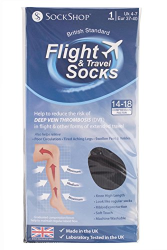 51Gzf1a2y7L - Sock shop Unisex flight and travel socks, 80 denier, 4-7 uk, 37-40 eur (black)