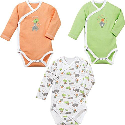 Baby Butt Wickelbody 3er-Pack mit Druckmotiv Interlock-Jersey grün-orange-weiß Größe 74/80