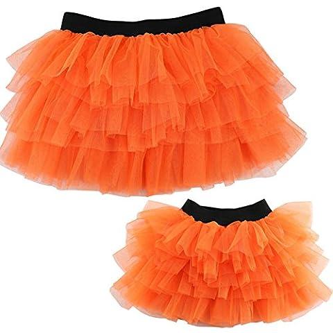 Wennikids Women Children Mother and Daughter Dance Skirt Chiffon Pettiskirt Tutu Orange Children Small