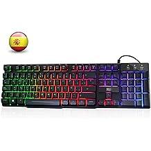 Rii RK100+ Gaming Teclado Retroiluminado con 5 colores arco iris. Tacto mecánico y alta sensibilidad. Con cable. Color negro. Teclado Español.