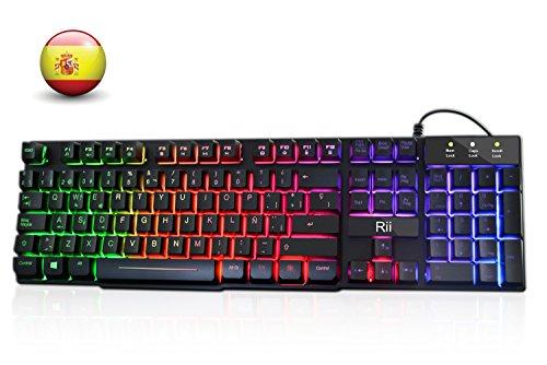 Rii RK100+ Gaming Teclado Retroiluminado con 5 colores arco iris. Tacto...