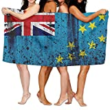 Ewtretr Grunge Oceania Tuvalu Flag Telo Mare, Asciugamano Mare, Polyester Quick Dry Soft Bath Sheets,Summer Premium Camping Large Bath Towels for Yoga Mat Beach Cover Blanket 31.5' X 51.2'