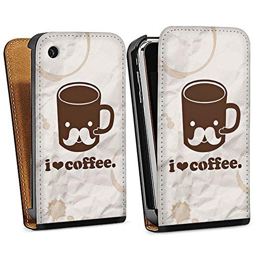 Apple iPhone 6 Housse Étui Silicone Coque Protection Café Tasse Amour Sac Downflip noir