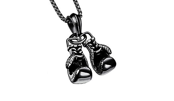 TIZIKJ Gar/çons Hommes Mode Pendentif Collier Gant de Boxe Titanium Acier Pendentif pour un Usage Quotidien ou Anniversaire Cadeau Anniversaire