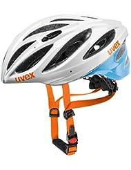 UVEX Erwachsene Fahrradhelm Boss Race, White/Blue, 55-60 cm, 4102290517