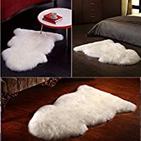 HLZDH Tapis en Peau de Mouton synthétique,Cozy Sensation comme véritable Laine Tapis en Fourrure synthétique, Man-Made Luxe Laine Tapis de Canapé Coussin (90 X60 CM, Blanc)
