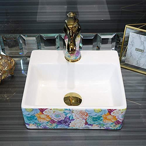 Waschbecken Keramik Aufsatzwaschbecken Romantische Blumenoptik Moderne Abstrakte Kunst Waschbecken Ovales Waschbecken Waschbecken Badezimmer Home On The Sink B -
