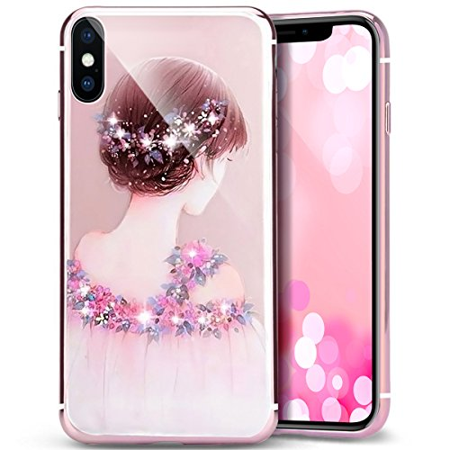 PHEZEN iPhone X Fall, iPhone X Crystal Clear TPU Case, Pink Cherry Blossom Blumen Design Glitzer Bling Kristall Diamant Transparent Soft TPU Bumper Silikon Back Schutzhülle für iPhone X Flower Girl Design-diamant Bling
