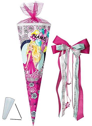 Schultte-Barbie-Schulanfangsparty-85-cm-eckig-incl-NAMEN-und-groe-SCHLEIFE-Tllabschlu-Zuckertte-mit-ohne-Kunststoff-Spitze-fr-Mdchen-Luftballon-Prinzessin-Blumen-Girl-Blten-Puppen-Feier