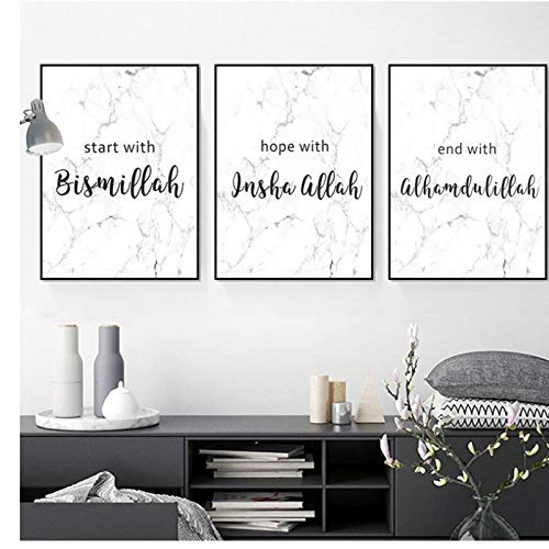 zhaoyangeng Allah Bismillah Inshaallah Alhamdulillah Islam Marmorwand Islamische Kunst Poster Und Druck Leinwand Gemälde Wohnkultur-50X70Cmx3 Kein Rahmen