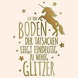 Wandaro W3411 Wandtattoo Spruch Glitzer Einhorn I Gold 58 x 83 cm I Sterne Kinderzimmer Wohnzimmer Aufkleber Wandaufkleber Wandsticker