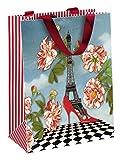 Clairefontaine Cakes de Bertrand 83194C Tasche Papier mittel 19x 10x 25cm matt Laminiertes mit Motiv Paris Rot, Schwarz/Blau