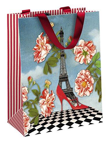 de Bertrand 83194C Tasche Papier mittel 19x 10x 25cm matt Laminiertes mit Motiv Paris Rot, Schwarz/Blau (Paris-papier)