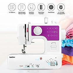 OAKOME Mini Máquina de Coser Automática Eléctrico de Doble Velocidad de Rosca Automática con Luz,Automatic Sewing Machine Eléctrico,Juguete de Plástico para Niños 17,00 x 9,50 x 18,00 cm (Púrpura, Púrpura)