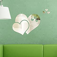 Idea Regalo - Kicode 2.4 * 2cm Romantico creativo removibile Adesivi da parete a specchio Cuori di amore 3D Bricolage art Decorazione