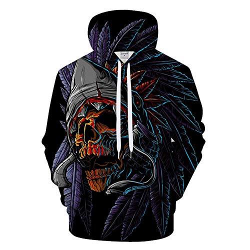 AGMKV 3D Men Hoodies Skull Hoody Printed Tracksuit Casual Sweatshirt Longsleeve Coat Streatwear Pullover - Printed Long Sleeve Coat