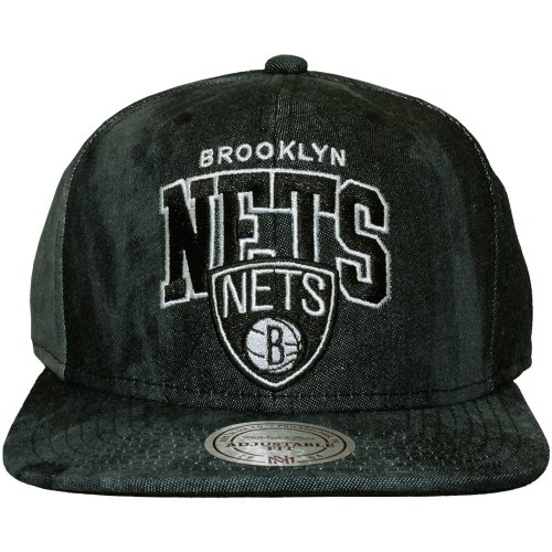 Mitchell And Ness - Casquette Snapback Homme Brooklyn Nets Black All Over Dyed Denim - Black