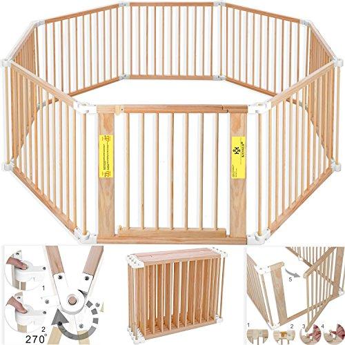 Kesser 7,2 Meter Laufgitter XXL klappbar, Bestehend aus 8 Elementen, inkl. Tür, Laufgitter Individuell formbar Laufstall Absperrgitter, Erweiterbar, Farbe:Weiß
