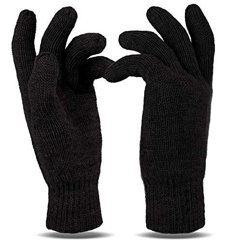 Tarjane Winterhandschuhe für Damen und Herren Thinsulate Strick Handschuhe XXL - Schwarz (Herren Thinsulate Handschuhe Xxl)