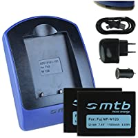 2 Baterìas + Cargador (USB/Coche/Corriente) para Fuji NP-W126 / Fujifilm X-A1 X-A2 X-E1 X-E2S X-M1 X-Pro2 XT-10 HS50EXR... ver lista