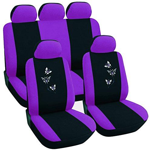 6 Schaumstoff-matratze (Sitzbezüge für Auto Schonbezüge Universal Set mit Butterfly Lila/ Schwarz AS7242la)