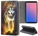 Samsung Galaxy A3 2016 Hülle Smart Flipcover Schutzhülle Case Handyhülle für Samsung Galaxy A3 2016 (1340 Wolf in der Nacht Tier)
