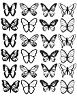 BLACK & WHITE BUTTERFLIES M2 EDIBLE RICE / WAFER PAPER CUP CAKE TOPPERS BIRTHDAY PARTY WEDDING DECORATION B51 MEDIUM (24) by Butterflies