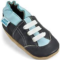 Kruipschoenen Babyschoentjes met Zachte Zooltjes - Schoentjes voor Jongens - Leren Peuterschoentjes - Grijze Trainers 6-12 maanden