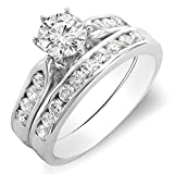 Little Treasures 1.00 Carat (ctw) 18 ct White Gold Round Diamond Ladies Bridal Engagement Ring Set 1 CT