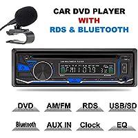 Estéreo para el coche 1DIN 12V con reproductor de CD, DVD, Bluetooth, MP3, USB, SD, TF, AUX, radio FM/AM y RDS con mando a distancia de Lling (TM)
