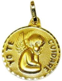 Medalla para bebé de oro amarillo de 18Ktes. 15mm Never say never