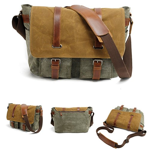 Zhhlaixing Beiläufige Beutel Fashion Mens Shoulde Canvas Bag Dyed Waterproof Tackle Retro Leisure Computer Small Bags Green