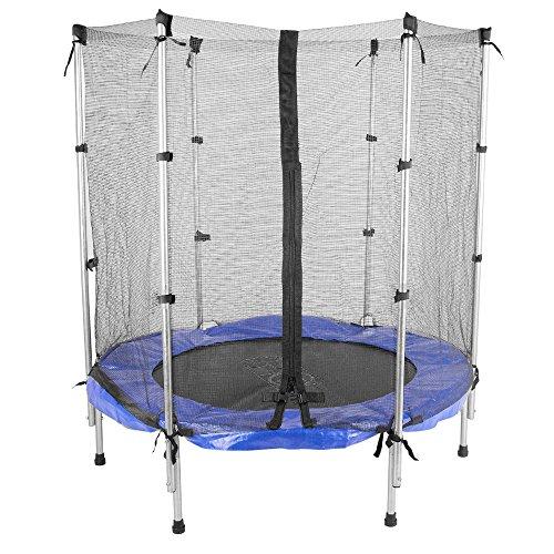 ScSPORTS Gartentrampolin Trampolin mit Sicherheitsnetz, Ø 140 cm, blau