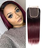 Closure Bresilienne Lisse Closure Frontale 4x4 Top Swiss Lace Bleached Knots Ombre Rouge Bordeaux Hair Closure Ombre Hair Extension Couleur 1B 30 pas Cher 12 pouce