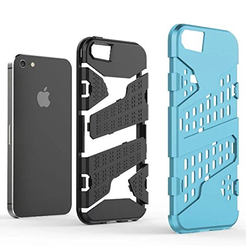 iPhone 5 5S Hülle,iPhone SE Hülle,Lantier Rüstung mit Luftloch Design Shockproof leichten doppelten Layer Hybrid Defender SchutzHülle für iPhone 5/5S/SE Grün Mint Blue